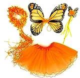 Tante Tina - Disfraz de Hadas Mariposa - Alas, Falda tutú, Varita mágica y Diadema - Monarca Naranjo