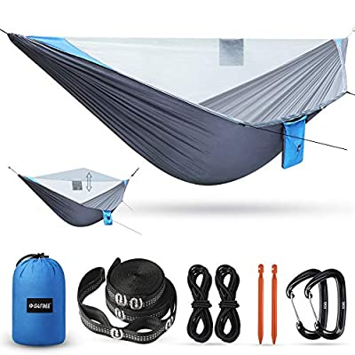 G4Free Portable Camping Hammock with Mosquito Bug Net Tree Straps Double & Single Hammock Tent Parachute Fabric for Outdoor Backpacking Backyard Hiking Equipment