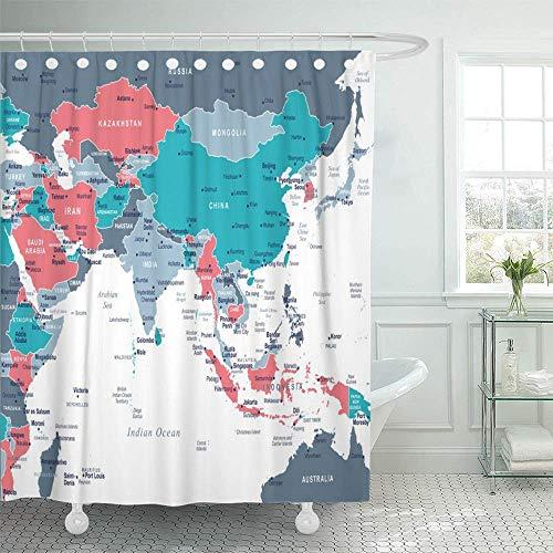 Leona Chesterton Cortina de baño Tela de poliéster Impermeable Azul Birmania Mapa de Asia meridional Gris detallado Australia Camboya Ciudades Capitales Conjunto Ganchos Baño Decorativo