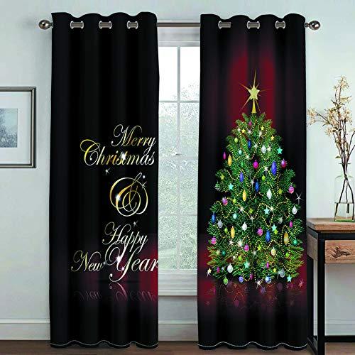 MMHJS Cortinas con Estampado De Árboles De Navidad En 3D, Poliéster Grueso, Reutilizable, Cortinas De Secado Rápido, Cortinas Verticales Opacas para Balcón De Dormitorio (2 Piezas)