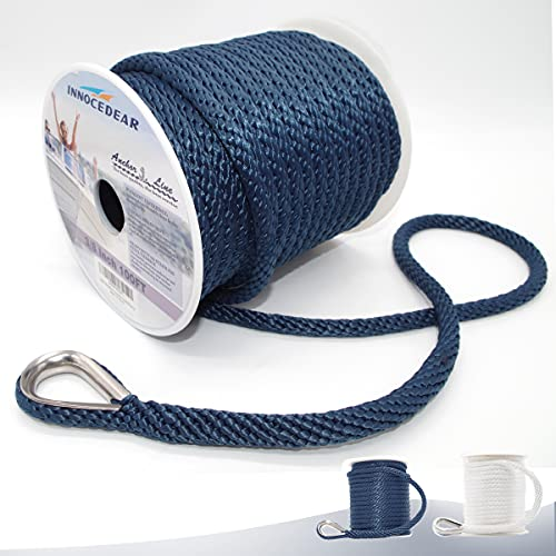 INNOCEDEAR Anchor Rope Braided Anchor Line(Navy, 3/8' x 100') Premium Solid Braid MFP Boat Rope with Stainless Steel Thimble, Quality Marine Rope, Boat Accessories