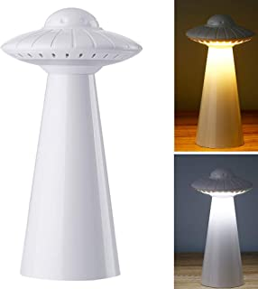 FANHAO UFO Night Light for Kids with 3 Lighting Modes, USB Rechargeable LED Nursery Lamp Free Stickers, Safe ABS+PP Bedside Lamp for Breastfeeding, Adjustable Brightness, Children Gifts - White