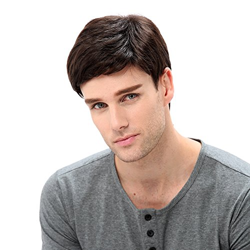 STfantasy Mens Brown Wig Male Guy Short Layered Cosplay Costume Party Natural Hair 12'