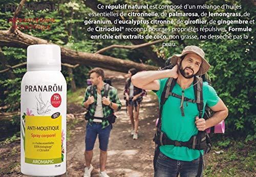 Pranarôm | Aromapic | Spray Corps Anti-Moustique Bio (Eco) | Efficacité 7 Heures | Huiles Essentielles biologiques | 75 ml