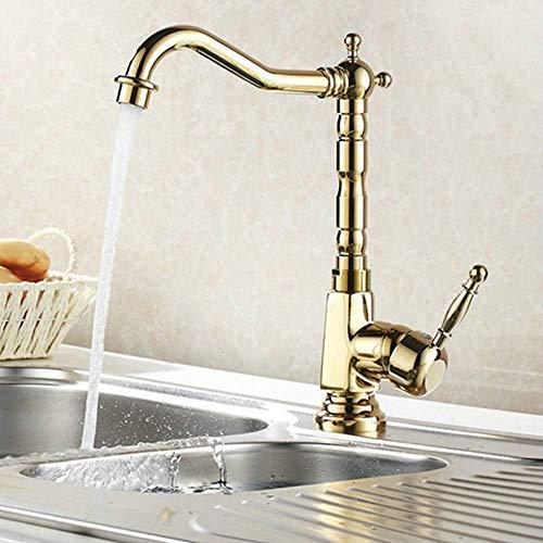 Goudkleurige wastafelmengkraan mixer luxe waterkraan merk messing keukenkraan 360 graden zwenken koud warm water mengkraan
