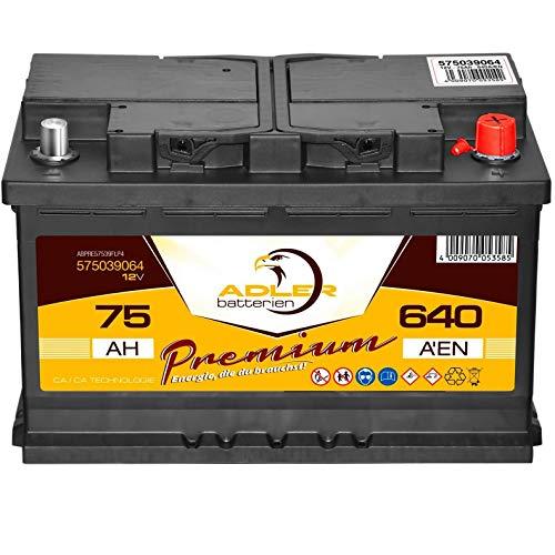 PKW-Batterie 12V 75Ah 640A Adler Premium Starterbatterie statt 65 70 72 74 77 Ah