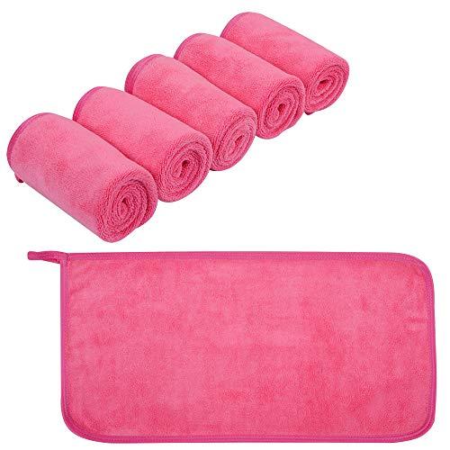 KinHwa Microfaser Abschminktücher Make-up Entferner Tuch Waschbar Gesichtsreinigungstücher Ultraweich Waschlappen Make Up Radierer 6Stück Rose rot