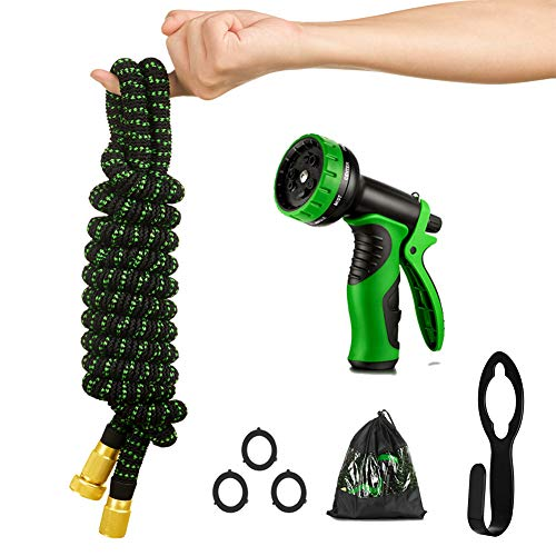 Expandable Garden Hose 50 ft ,Leakproof Lightweight Garden Water Hose with Spray Nozzle,Extra Strength 3750D Durable Gardening Flexible Pipe