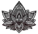 EW Designs Beautiful Tribal Henna Pattern Lotus Flower - Black and White Vinyl Decal Bumper Sticker (4' Wide)