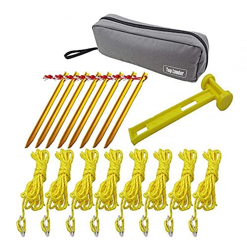MiOYOOW Juego de estaca para tienda de campaña, pinzas para toldo con bolsa, 8 piezas, cuerdas de 10 pies, estacas de tierra para acampar, senderismo, mochilero, jardinería