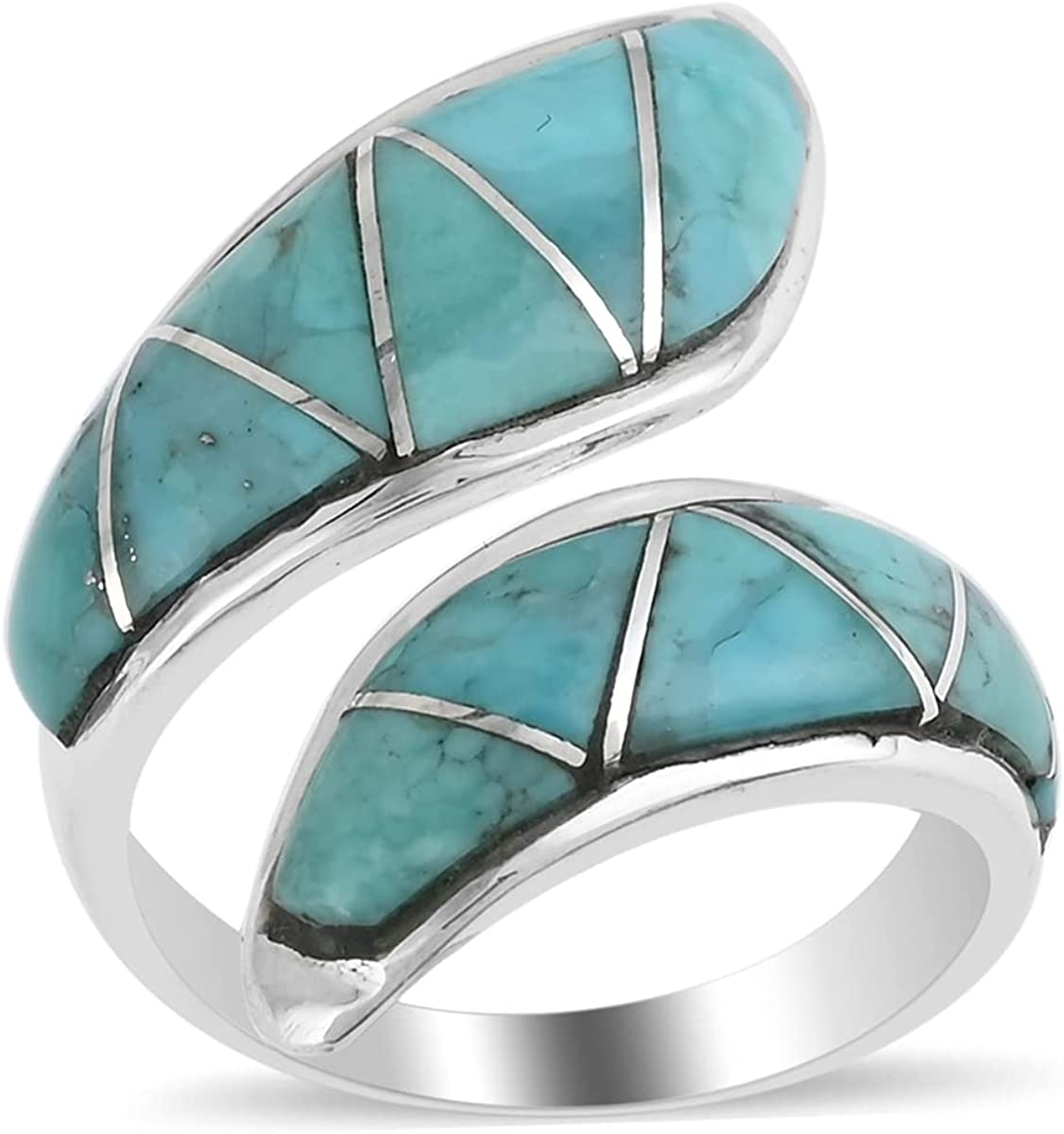 Shop LC Santa Fe Style 925 Gorgeous Open Sterling S Ring Turquoise Silver 70% OFF Outlet