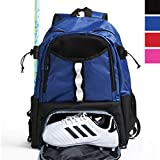 Athletico Youth Lacrosse Bag - Extra Large Lacrosse Backpack - Holds All Lacrosse or Field Hockey Equipment - Two Stick Holders and Separate Cleats Compartment (Blue)