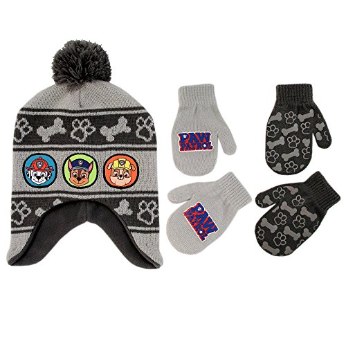 Nickelodeon Boys Paw Patrol Winter Hat and 2 Pair Gloves or Mittens (Age 2-7)