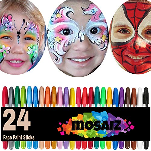 Face Paint Crayon 24 Colors with 12 Metallics Face Painting Sticks for Kids Washable Twistable Kit Water Based Non-Toxic Set Halloween Makeup Marker Pen for Face Hair Body (Makeup That Goes With A White Dress)