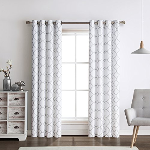 Regal Home Collections Meridian Energy Efficient/Room Darkening/Noise Reducing/Thermal Lattice Chic Foamback Grommet Curtains, 2 Pack, Assorted Colors, (Grey)