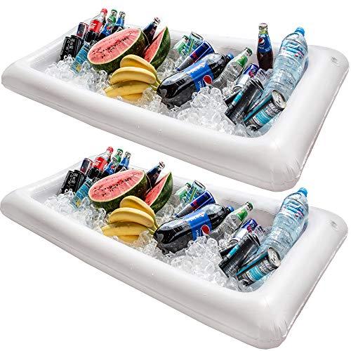 Schwimmender Getränkehalter Schwimmende Poolbar Aufblasbar - Chuzy Chef Pool Zubehör für Schwimmbecken 2 Party Bierhalter Tablett für Getränke & Essen Wasser Aufblasbare Kinder