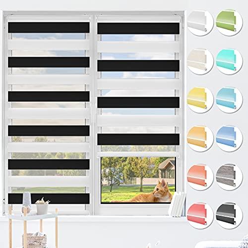 HOMEDEMO Doppelrollo Klemmfix ohne Bohren & mit Bohren, Rollos für Fenster und Tür, (Weiss-schwarz, 40x120cm) Duo Rollo Klemmrollo lichtdurchlässig, Fensterrollo Sichtschutz