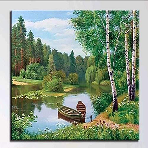 nobrand Boot Fluss Wald Landschaft DIY Malerei Nach Zahlen Wandkunst Bild Acryl Leinwand Malerei Für Home Decoration