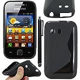 ebestStar - Funda Compatible con Samsung Galaxy Y S5360 Carcasa Gel Silicona Gel TPU Motivo S-línea, S-Line Case Cover + Lápiz, Negro [Aparato: 104 x 58 x 11.5mm, 3.0'']