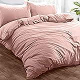 Brentfords Bettwäsche-Set aus gewaschenem Leinen, mit Kissenbezug, weiche gebürstete Mikrofaser, 100 Polyester, Blush Pink, King Size