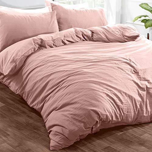Brentfords Washed Linen Look Duvet Cover with Pillow Case Soft Brushed Microfiber Bedding Set, Blush Pink - Double