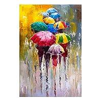 抽象的な肖像画の絵画はキャンバスに印刷しますアートプリント傘の壁を持っている女の子アート写真家の壁の装飾(70x90cm)フレームレス