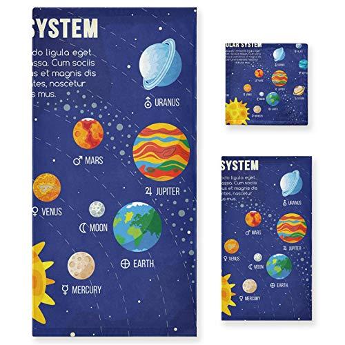 Juego de Toallas de baño de Lujo de algodón de 3 Piezas para Mujeres, Hombres, baño, Cocina, 1 Toalla de baño, 1 Toallas de Mano, 1 toallitas - Universo Sistema Solar Planetas Sol