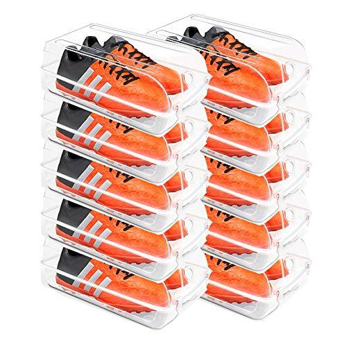 MFWallMirror Zapatero Caja De Zapatos 10 Piezas Caja De Almacenamiento Transparente Apilable para Zapatos Caja Organizadora De Zapatos De Plástico para Hombres Y Mujeres