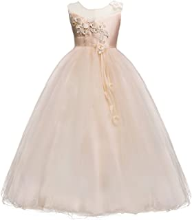 IWEMEK Kids Girls Princess 5-16T Tulle Lace Flower Pageant Dress Puffy Floor Length Wedding Bridesmaid Party Tutu Maxi Gow