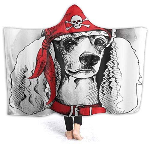LISUMAL Tragbare Hoodie Decke,Pudel Pirat Ernsthafter Gesichtsausdruck Netter...