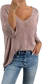 Women's V-Neck Long Sleeve Loose Sweater Tops Casual Daily Solid Sweatshirt Tunic Blouse