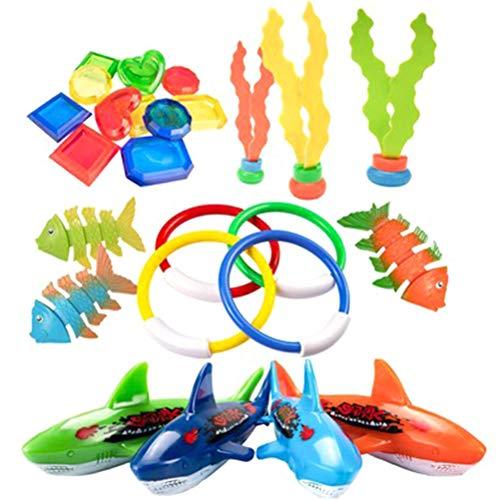 26 PCS-Kind-Sommer Spielen Pool Werfen Tauchen Spielzeug Unterwasser Ringe Tauchen Kreis Set Pool-Strand-Spielzeug Brain Game