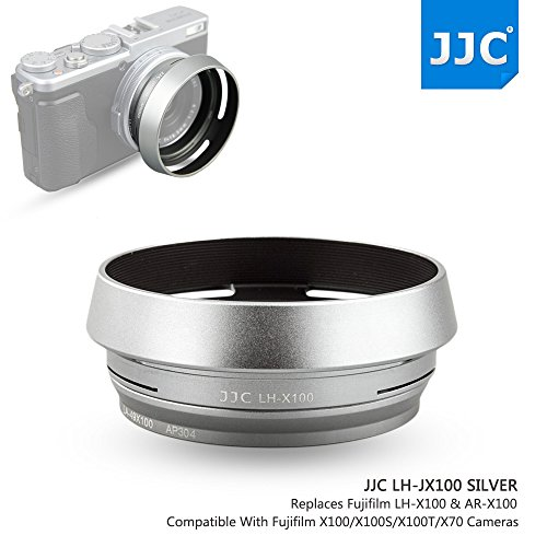 JJC Metal Lens Hood Shade Protector with 49mm Filter Adapter Ring for Fujifilm Fuji X100V X100F X100T X100S X100 X70 Replaces Fujifilm LH-X100 Lens Hood & AR-X100 Filter Adapter Ring/Silver