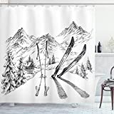 Ambesonne Sports Shower Curtain, Winter Seasonal Activity Skiing with Gear Set on The Mountain Peak Everest Sketchy Image, Cloth Fabric Bathroom Decor Set with Hooks, 75' Long, White