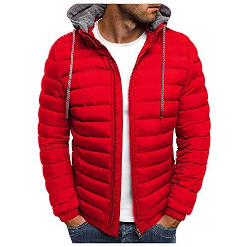 BIKETAFUWY Piumino da uomo, leggero, con cappuccio, tinta unita, giacca invernale trapuntata, con coulisse e chiusura lampo, per attività all aria aperta, calda giacca a vento, Colore: rosso, XXXL