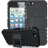 ykooe Funda de silicona para teléfono - cubierta resistente con soporte para Apple iphone 5 / iphone 5s / iphone SE [negro]