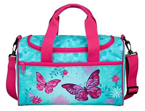 Scooli Sporttasche mit Hauptfach und Vortasche, Butterfly, ca. 16 x 35 x 23 cm BUTE7252, Türkis
