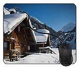 Alfombrilla de Ratón Casas Montañas austriacas Nevado, Alfombrilla Gaming, Base de Goma Antideslizante para Gamers, PC Portátil - 24x20cm