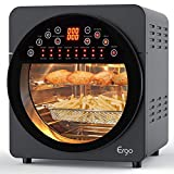 Air Fryer Oven,15.3Qt Large Toaster Oven with Touch Screen LED Digital ,Convection Roaster with Rotisserie & Dehydrator, Ultra Quiet, for Healthy Oil Free & Low Fat Cooking, 16-in-1 Preset Programs, 1700W(Grey)