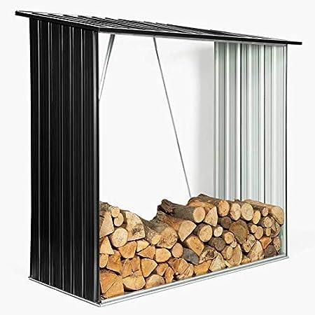 IDMarket - Abri de Stockage 2 m³ Gris en Acier galvanisé pour bûches