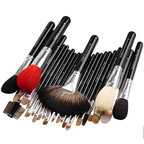 Pinceaux de maquillage 26 Pcs Brush Set, Premium Synthetic Foundation Powder Concealers Eye Shadows Makeup Kit-black