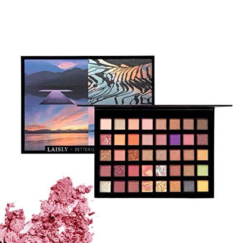 Palette de fards à paupières 40 couleurs Palette de maquillage pour les yeux brillamment pigmentée et brillante métallisée brillante Poudre lisse colorée...