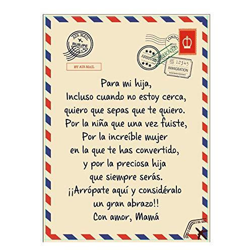 ZBSY Las Mantas Manta Polar Manta para Mi Hijo Y Hija con Letras Perfectas Un Regalo Regalos De Cumpleaños Navidad Español,para Hija,150 * 200cm