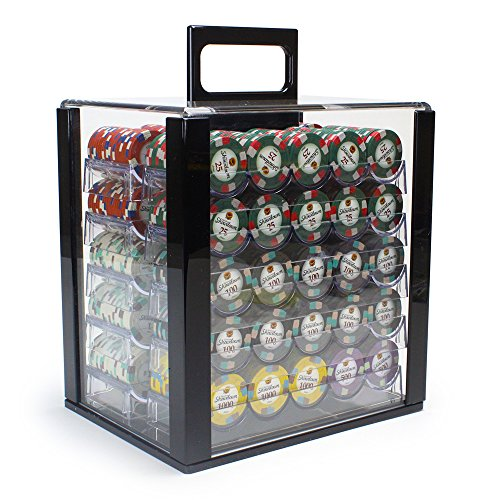 Brybelly 1,000 Ct Showdown Poker Set - 13.5g Clay Composite Chips with Acrylic Display Case for Casino Games
