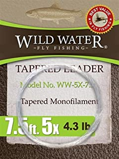 "Wild Water Fly Fishing Tapered Monofilament Leader-5X, 7'6"", 6 Pack"