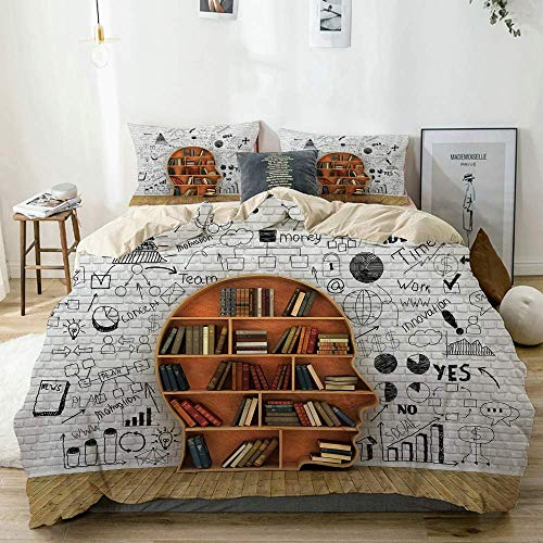 Yoyon Beige Duvet Cover,Wood Bookshelf in The Shape of Human Head and Books Near Break Wall Knowledge Concept,3 Pieces Quality Printed Microfiber Bedding Set,Modern Design