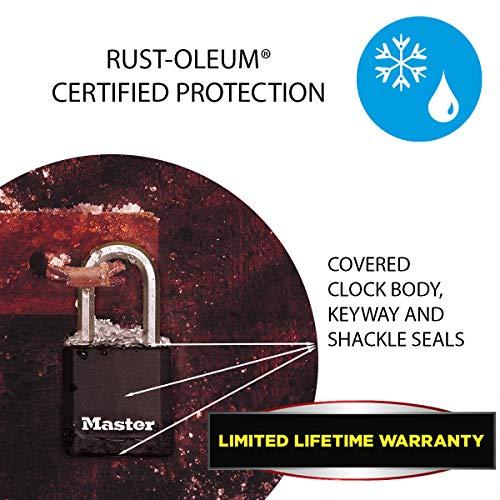 MASTER LOCK Heavy Duty Padlock [Key] [Covered Laminated Steel] [Weatherproof and Rustproof] [Medium Shackle] [Pack of 2] M115EURTLF - Best Used for Storage Units, Sheds, Garages, Fences