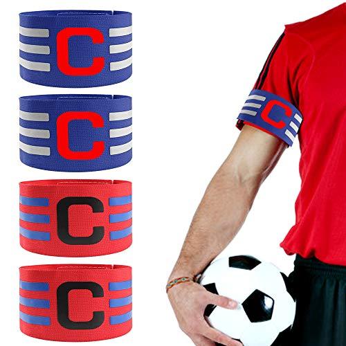 4pcs Brazalete de Fútbol Ajustable Brazalete de Capitán con Velcro para Tamaño Ajustable Banda de Capitán para Jóvenes Adultos Apto para Deportes Fútbol y Rugby (2 Rojos + 2 Azules,36cm)