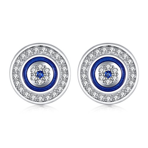 Pendientes redondos de ojo malvado azul dia.10mm plata de ley 925 azul blanco zirconia cúbica con esmalte