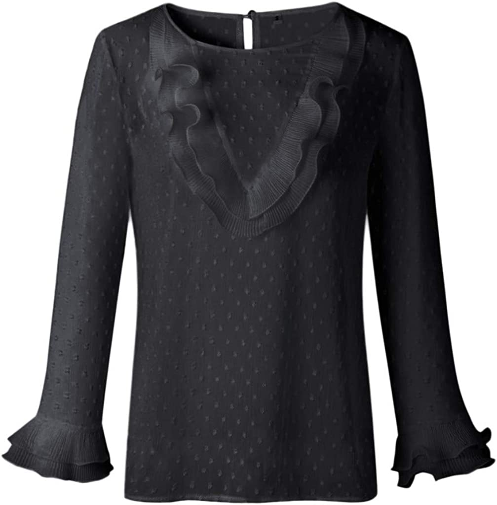 Womens Tops Plus Size, F_Gotal Women's Casual Long Sleeve Fall Tops Ruffle Loose Tunic T-Shirt Blouse Tops Pullover